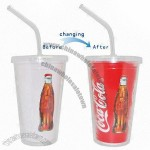 16oz Double Wall Cold Magic Color-changing Plastic Tumbler with Straw