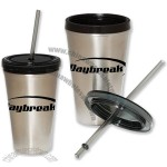 16oz Stainless Steel Double Wall Tumbler with Straw