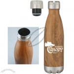16oz Stainless Steel Woodtone Vacuum Bottle