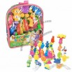 17-Piece Cartoon Plastic Toy Building Blocks With Bell Sound, PVC Hand Bag