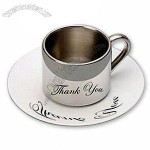 180ml Double Wall Stainless Steel Coffee Mug/Cup and Saucer