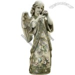 19-Inch Angel with Hummingbird Garden Statue