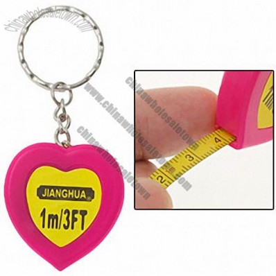 1m Pocket Heart Magenta Keychain Retractable Tape Measure Ruler