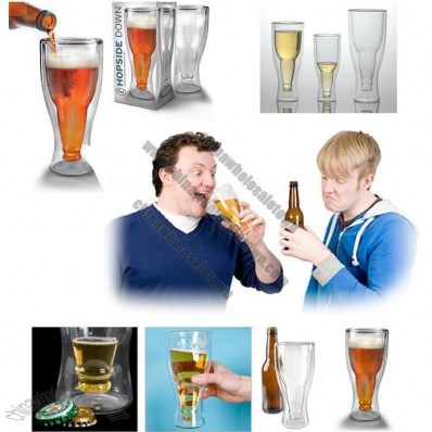 2 Double Wall Thermo Glass - Hopside Down Cooler Beer Glass Mug