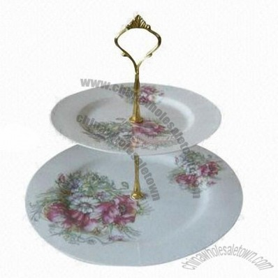 2-Layer Ceramics Cake Stand With Decoration
