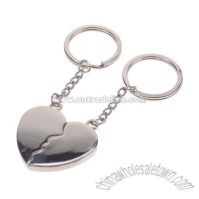 2-Piece Silver Split Heart Key Chain