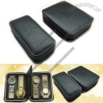 2-Slot 4-Slot Travel Watch Case - Black PU Leather with Soft Beige Velvet Lining & Padded Divider