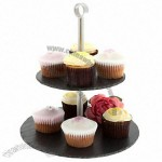 2 Tiers Black Slate Tray as Cake Stand