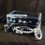 2-drawer Acrylic Jewelry and Cosmetic Storage Display Box, 7-1/4 x 4 x 3-1/2 Inches