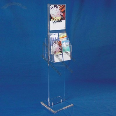 2-sided Clear Acrylic Display Stand W/Sign Holder