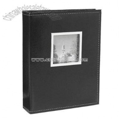 200-Photo Faux Leather Album with Metal Frame - Black