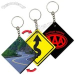 Key Tag / Key Chain with Road Sign Diamond Shape