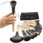 24 Pcs Professional Make Up Makeup Cosmetic Brush Set with Leather Case