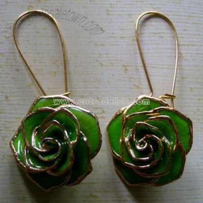 24k Gold Roses Earbob Valentine's Day Gift