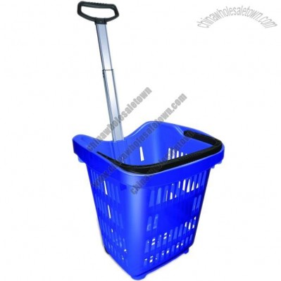 28L Rolling Shopping Basket
