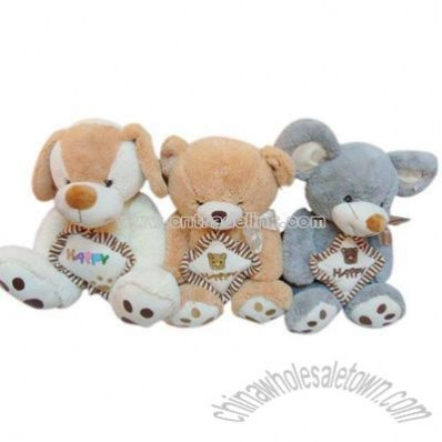 29CM PLUSH MOUSE/BEAR/DOG