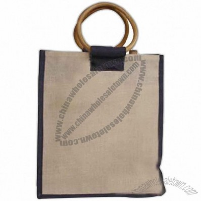 3 Bottle Jute Wine Tote with Cane Handles