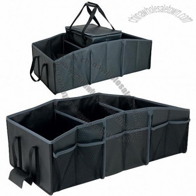 3 Compartment Folding Trunk Organizer with Picnic Cooler Bag