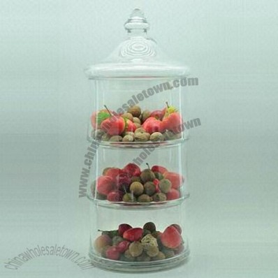 3 Layers Glass Candy Jar