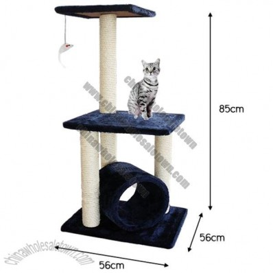 3 Level Cat Tree House with Dangling Toy - 85cm