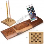 3 Piece Bamboo Wood Desktop Organizer Pen and Cellphone Holder