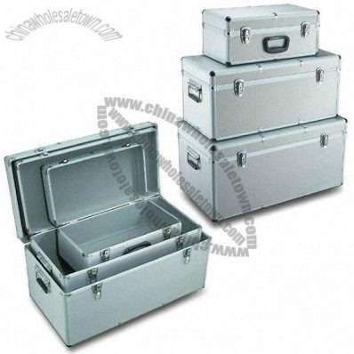 3-in-1 Aluminum Tool Case with Silver Diamond ABS Surface and Metal Key Locks