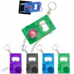 3 in 1 Bottle Opener Keychain with LED Light and Tape Measure