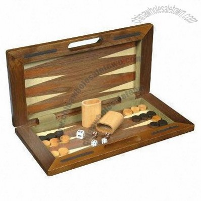 3-in-1 Wooden Multigame/Compendium Travel Game Set with Chess, Backgammon, Checkers or Draughts
