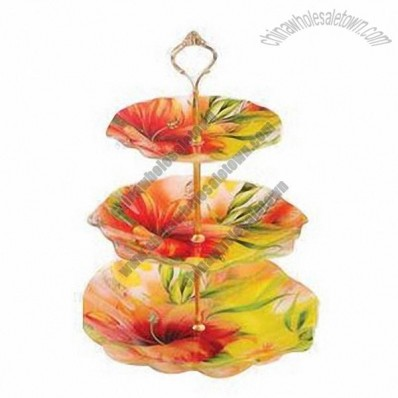 3-layer cake stands, made of glass with colorful decal