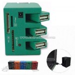 3-port USB Hub with Card Reader and LED Working Indicator Light