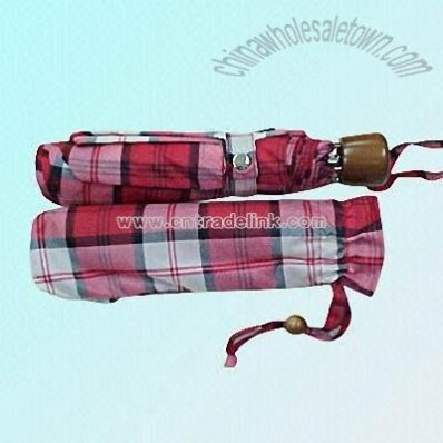 3-section Tartan Umbrella with Metal Shaft and Frame