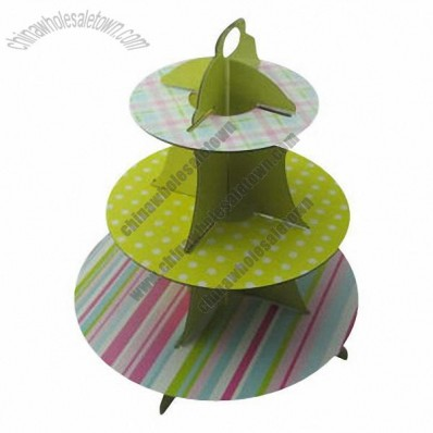 3-tier Disposable Cupcake Stand Display, Made of Cardboard, for Party Favors