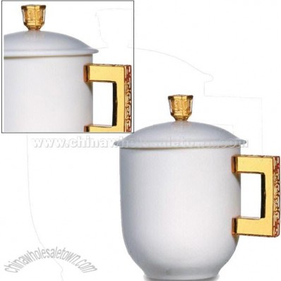 300mL/10.1oz Fine Porcelain Mug with Lazurite Handle and Lid