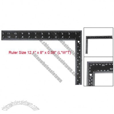 300mm Printed Scale Metal Black Double-sided L Square Right Angle Ruler