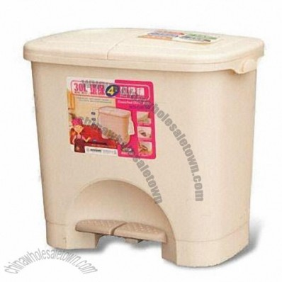 30L Trash Bin with Two Compartments
