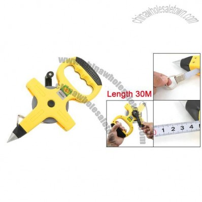 30M Long Open Reel Steel Measuring Tape Hand Tool w Pointed Drill End
