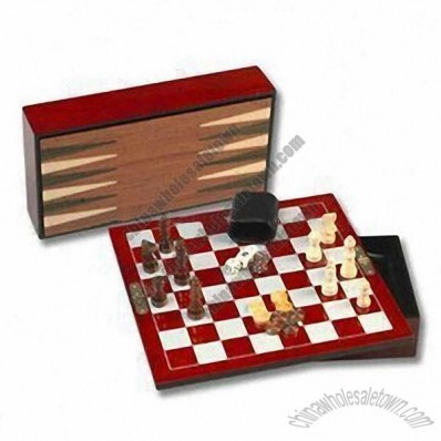 31.4 x 16.2 x 6.4cm 3-in-1 Game Set, Includes Chess, Checker and Backgammon Games