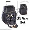 32 pc Wheeled Cooler Travel Bag Camping Picnic Set