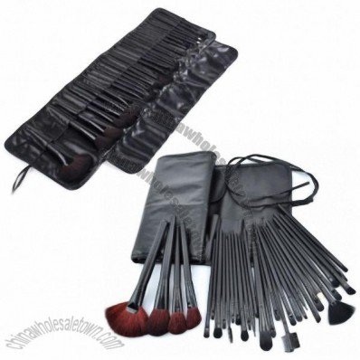 32 pcs Cosmetic Facial Make up Brush Kit Makeup Brushes Tools Set With Black Leather Case