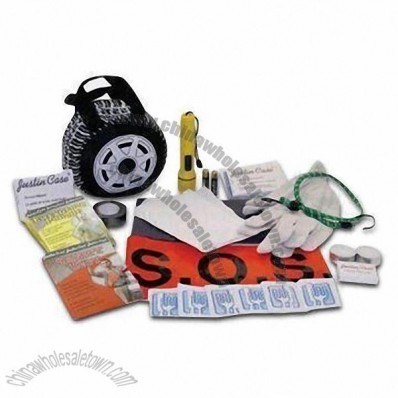 33 Pieces Roadside Kits, Includes Pair of Gloves, Electric Tape, 2 Batteries and Flashlight