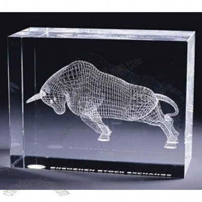 3D Laser Crystal Paperweight with Cattle