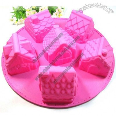 3D Six House Shaped Silicone Cake Mould