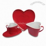 3oz Heart-Shaped Red Cup and Saucer Set