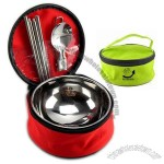 3pcs Portable Travel Cutlery Set, Stainless Steel Double Pouch, Rice Bowl, Chopsticks, Spoon