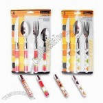 4-/3-piece Cutlery Set with PS Handle, 1.2 to 1.5mm Thickness and Hand/Tumble Polish
