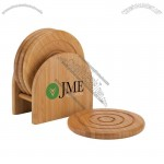 4 Piece Bamboo Coaster Set W/ Matching Holder