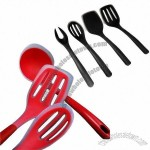 4 Pieces Silicone Utensil Set, Includes Turner, Slotted Turner, Spoon and Fork