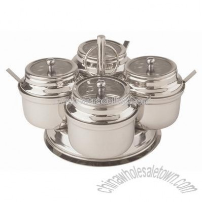 4 compartment rotating condiment server complete
