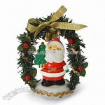 4-inch High USB Color Changing Santa with Wreath