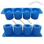 4-piece Cup Shaped Silicone Ice Cube Tray